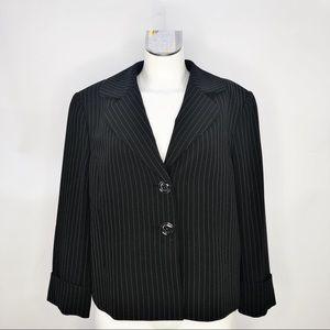 Tahari ( 16 ) Black Pinstriped Blazer Jacket